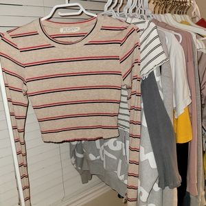Audrey3+1 Cropped Long Sleeve Striped Top